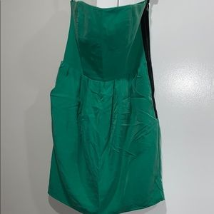 Kelly green faux suede knee length dress